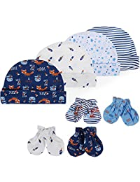 Lictin Newborn Baby Cotton Caps Mittens - 100% Cotton 4pcs Baby Cotton Caps Hats and 4 Pairs Baby Scratch Mittens Gloves for Baby Boy(0-6 Months) (Blue)