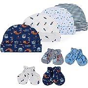 Lictin Newborn Baby Cotton Cap Mitten - 100% Cotton 4pcs Baby Cotton Caps Hats and 4 Pairs Baby Scratch Mitten Gloves for Baby Boy(0-6 Months) (Blue)