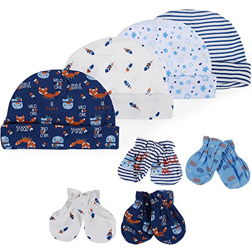 Lictin Newborn Baby Cotton Caps Mittens - 100% Cotton 4pcs Baby Cotton Caps Hats and 4 Pairs Baby Scratch Mittens Gloves for Baby Boy(0-6 Months) (Blue) ()