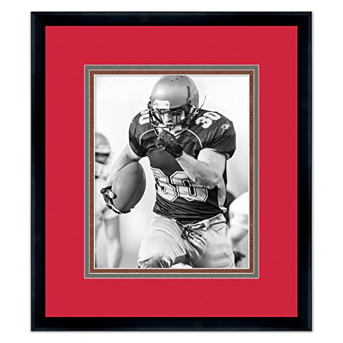 (Black Wood Frame for 16x20 Photos with a Triple Mat - Buccaneer Red, Pewter, and Football Textured Mats)