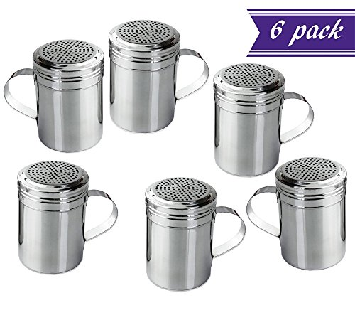(Set of 6) 10 Oz Stainless Steel Dredge Shaker with Handl...