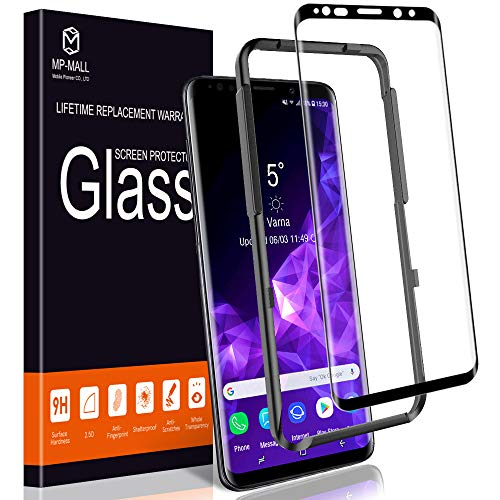 MP-MALL Screen Protector for Samsung Galaxy S9 Plus, [Tempered Glass] [Full Cover] [Alignment Frame Easy Installation] with Lifetime Replacement Warranty