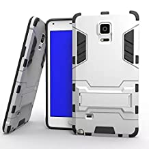 Note 4 Case, Lantier [Tire Design Skin] 2 In 1 Combo Rugged Dual Layer [Heavy Duty Case] Detachable Hybrid Slip Robot Impact Advanced Armor Soft Silicone Cover Hard Snap On Case for Samsung Galaxy Note 4 with Kickstand Tuff Symbiosis Anti-Scratch, Anti-Slip Protection with Stylus Pen Silver