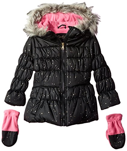 Jessica Simpson Girls' Little Cozy Trimmed Hooded Jacket Coat with Mittens, Black, -