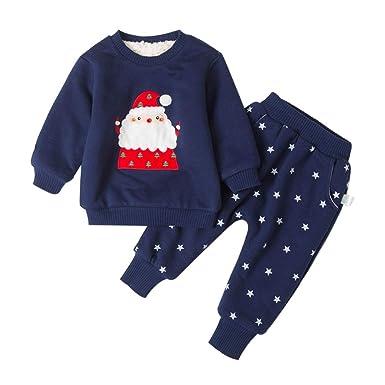 325abd9960d52 Miyanuby Ensembles de Pyjama Noel Bebe Hiver Chaud Doux Polaires Homewear