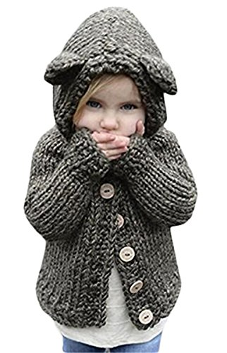 Baby Toddler Kid Little Girls Rabbit Ears Winter Warm Wool Knit Sweater Jacket Outwear 7T by REWANGOING