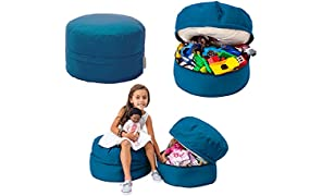 Mimish Storage Pouf with Covered Zipper, Aqua