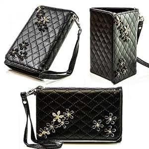 Bolso de mano con espejo para Sony Xperia M (C1904, C1905) Negro Funda Funda Cover Carcasa Bag nuevo