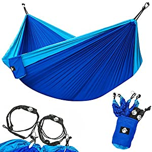 Legit Camping Double Hammock with Nylon Straps and Steel Carabiners - Light Blue / Blue