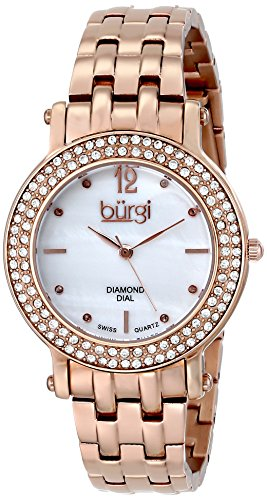 Burgi Women's BUR079RG Swiss Quartz Diamond Crystal Mother-of-Pearl Rose-tone Stainless Steel Bracelet Watch