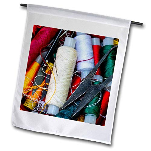3dRose Alexis Photography - Objects Handicraft - A Pile of spools of Colorful Threads, Vintage Metal Scissors - 12 x 18 inch Garden Flag (fl_308095_1) ()