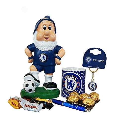 (Father's Day Chelsea FC gift set with Gnome, Mug, Toblerone, Ferrero Rocher and Keyring )