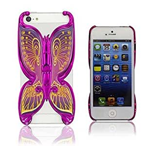 SOL 3D Effect of Butterfly Back Case for iPhone4/4S (Assorted Color) , Rose