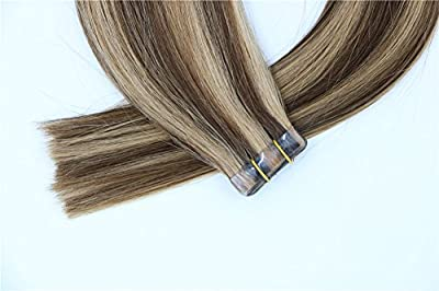 """Vario Tape In Human Hair Extensions Two-tone Colored Hair 16"""" 18"""" 20"""" 22"""" 24"""" (30-70g 20PCS) - Silky Straight Skin Weft Human Remy Hair"""