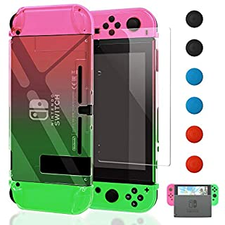 Dockable Case Compatible with Nintendo Switch,FYOUNG Protective Accessories Cover Case Compatible with Nintendo Switch and Joy-Cons with a Tempered Glass Screen Protector - Left Pink