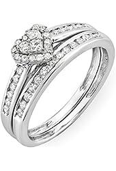 0.55 Carat (ctw) 10k White Gold Round & Princess Diamond Heart Shaped Bridal Ring Engagement Set 1/2 CT