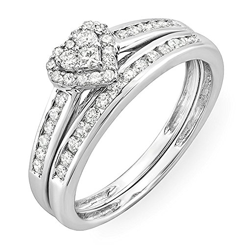 0.55 Carat (ctw) 10k White Gold Round & Princess Diamond Ladies Heart Shaped Bridal Ring Engagement Matching Band Set 1/2 CT (Size 7)