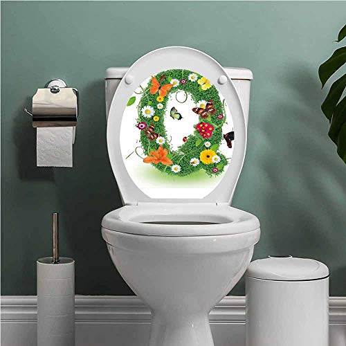 SCOCICI1588 Letter Q StickersforBathroomWashroomSeat Summer Alphabet with Herbs Chamomiles Swirling Leaves Fragrance Themed Symbols Toilet Seat Decals Cute Multicolor W13XL18 INCH (Ray-ban-symbol)