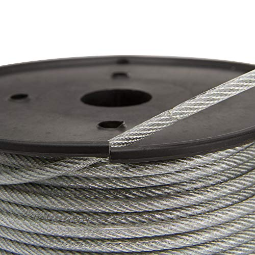 Houseables Vinyl Coated Wire Rope, Aircraft Cable, Stainless Steel, 250 Feet, 1/8-Inch – 3/16-Inch, 7×19 Braided Strands, Plastic Reel, Galvanized Metal, Tension Wires, for Clothes Line, Zip Lines