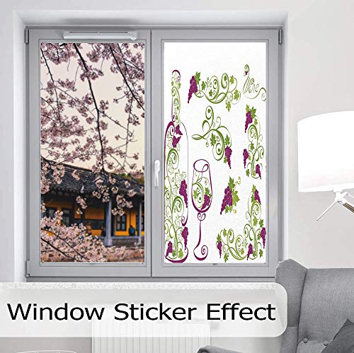 (YOLIYANA Control Heat and Anti UV Window Cling,Wine,Reduce Heat, Glare and Block Out Harmful UV Rays,Wine Bottle and Glass Grapevines Lettering with Swirled,24''x48'')