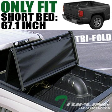 Topline Autopart Tri Fold Soft Vinyl Truck Bed Tonneau Cover For 04-14 Ford F150 Super Crew (Crew) Cab Short Bed ; 06-08 Lincoln Mark LT 5.5 Feet (66