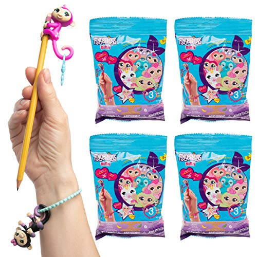 WowWee (4 Pack Fingerlings Blind Bags Pencil Toppers Charms Bracelets Bulk Series 1 Party Favors for Kids Toys ()