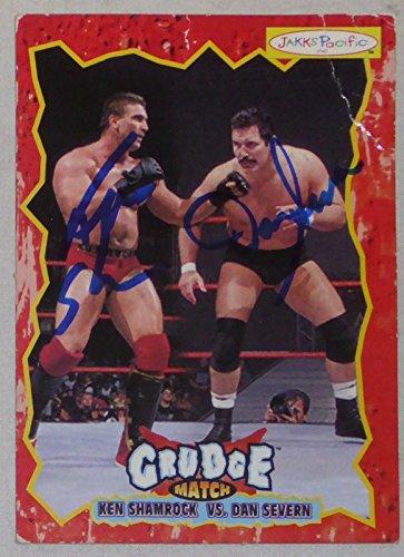 Ken Shamrock & Dan Severn Signed WWE Grudge Match Action Figure Card UFC - PSA/DNA Certified - Autographed UFC Cards