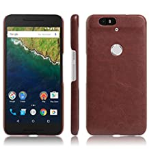 Nexus 6P Case, Fettion [Thin Fit] Ultra Slim Lightweight PU Leather Phone Case Cover for Huawei Google Nexus 6P / 6 2nd Gen 2015 Smartphone (Leather Cover Brown)