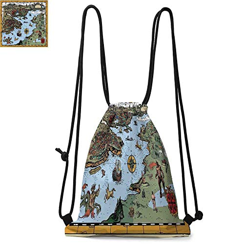 Compass Drawstring backpack series Antique Map Rivers and Land Full of Monsters Pirates Giant Creatures Fantasy Art Convenient choice for daily activities W13.4 x L8.3 Inch Olive Blue