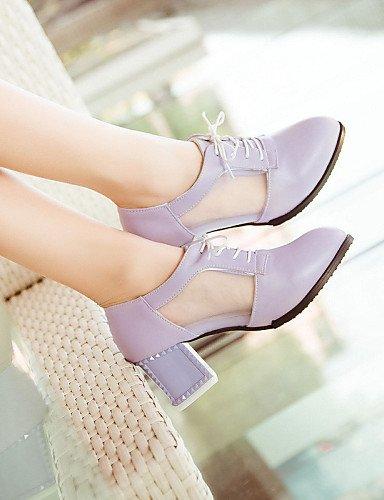 NJX/ hug Damenschuhe - High Heels - Outddor / Kleid / Lässig - Kunstleder - Blockabsatz - Absätze / Spitzschuh - Schwarz / Lila / Weiß purple-us8.5 / eu39 / uk6.5 / cn40