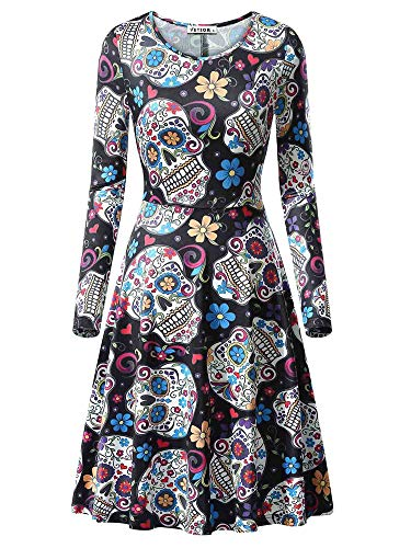 VETIOR Sugar Skull Dress, Womens Halloween Costumes Skull Print Party Dress]()