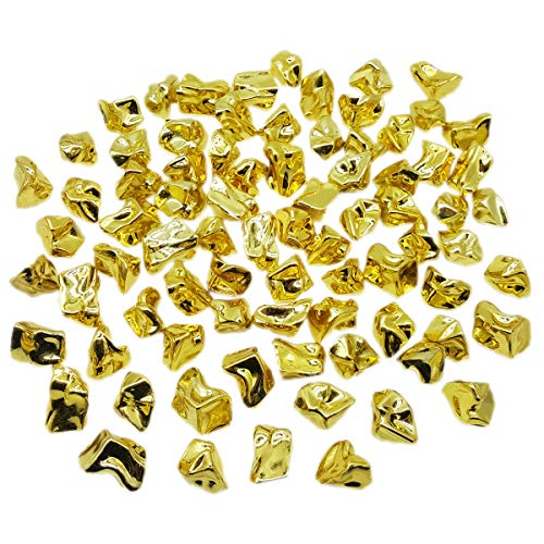 ZeroDeco 1LB(Approx 155Pcs) Plastic Metallic Gold Nuggets for Table Scatter Decoration or Vase Filler