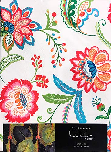 (Nicole Miller Indoor Outdoor Easy Care Tablecloth | Jacobean Floral Blossoms | 60