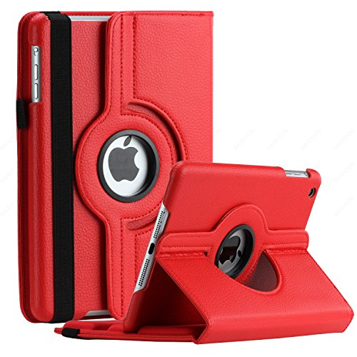 SAVEICON iPad Mini / iPad Mini 2 / iPad Mini 3 Case - Red PU Leather Case 360 Degree Swivel Rotating Magnetic Folio Case Cover Stand for Apple iPad Mini 7.9'' Tablet with Sleep and Wake Function (Swivel Ipad Mini Stand)