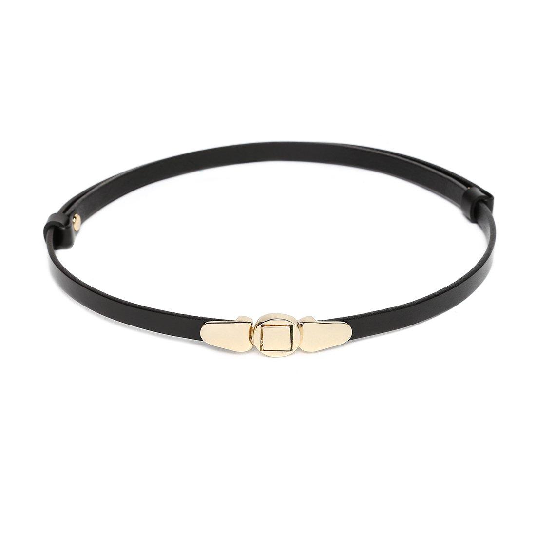 Women's Genuine Cowhide Leather Stylish Thin Dress Belt Adjustable Casual Skinny Belts for Pants Summer Black