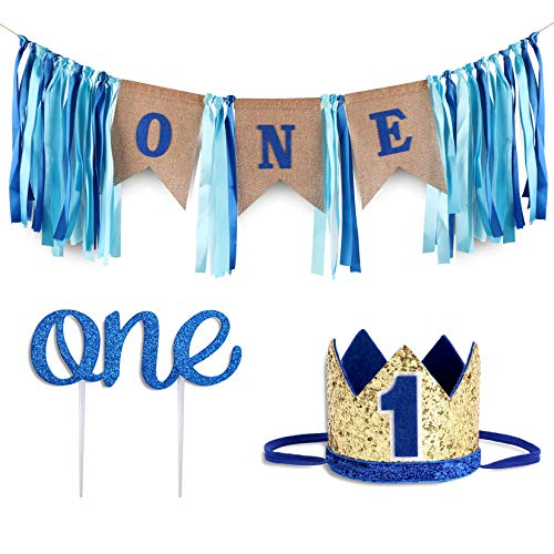 Baby 1st Birthday Boy Decorations WITH Crown - Baby Boy First Birthday Decorations High Chair Banner - Cake Smash Party Supplies - Happy Birthday ONE Burlap Banner, No.1 Crown, Glitter ()