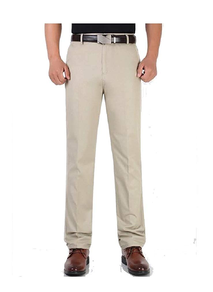 NestYu Mens Long High Waist Flat-Front Straight Leg Chino Jogger Pants