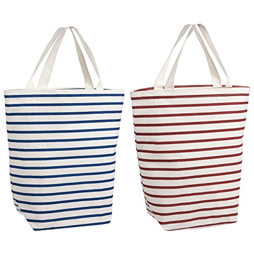 Reusable Grocery Bags - 2 Pack Eco Friendly - Blue Stripes &