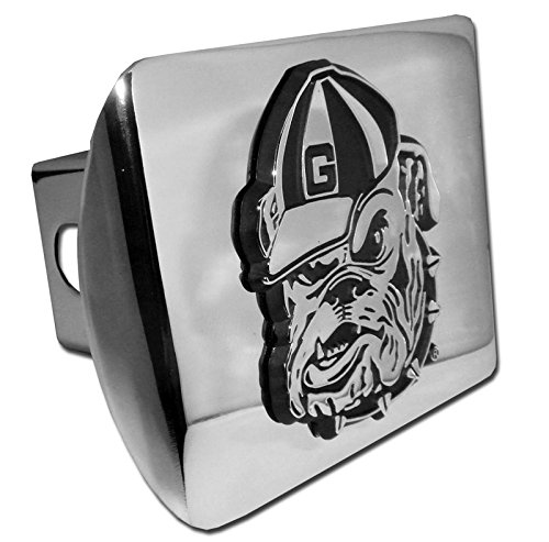 University of Georgia Bulldog Mascot METAL emblem on chrome METAL Hitch Cover