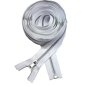 "90"" Coat Lining Zipper ~ YKK #3 Coat Lining Separating ~ Aluminum ~ White (1 Zipper)"