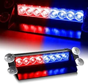 Aurnoc 8 LED Visor Dashboard Emergency Strobe Lights White Car LED Light for Windscreen Dashboard Car White LED Light