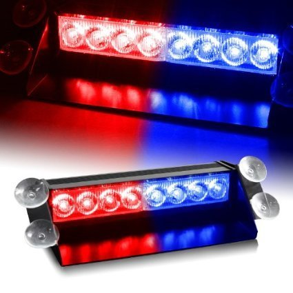 ZHOL 8 LED Visor Dashboard Emergency Strobe Lights Blue/Red ()