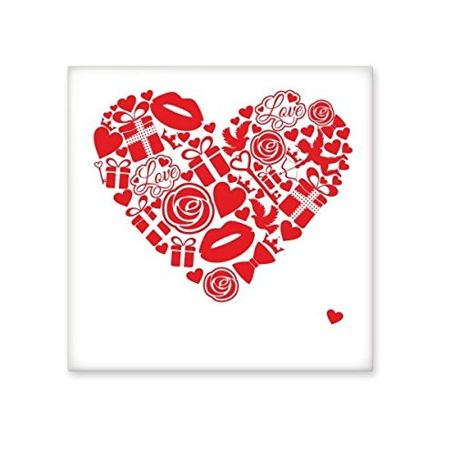 lovely Valentine's Day Red Heart Shape Sign with Rose Present Gift Lip Angle Bow Tie Pigeon and Love Illustration Pattern Ceramic Bisque Tiles for Decorating Bathroom Decor Kitchen Ceramic Tiles Wall Tiles
