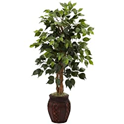 Nearly Natural 5929 44-Inch Ficus Tree with Decorative Planter, Green