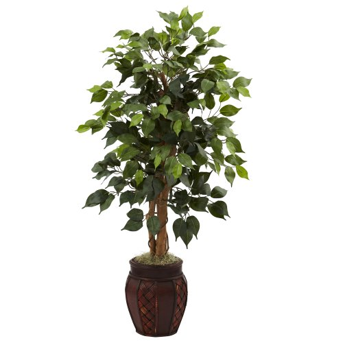 Artificial Ficus Tree (Nearly Natural 5929 44-Inch Ficus Tree with Decorative Planter, Green)
