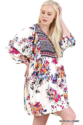 Tunic Combo Size Print Dress Floral Plus Peasant Royal Umgee Pink xAqUIc