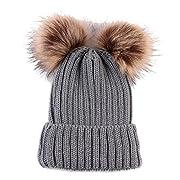 Landfox Newborn Cute Warm Winter Knitted Wool Hemming Hat (Gray)