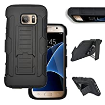 Galaxy S6 Edge+ Plus Case Belt Clip Robot Holster [With Stylus Pen] Kickstand Cover for Samsung Galaxy S6 Edge+ Plus 2015 Edition - (Black)