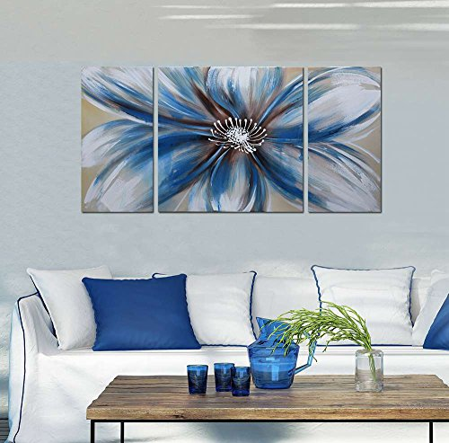 Blue Oil Painting (ARTLAND Modern 100% Hand Painted Flower Oil Painting on Canvas