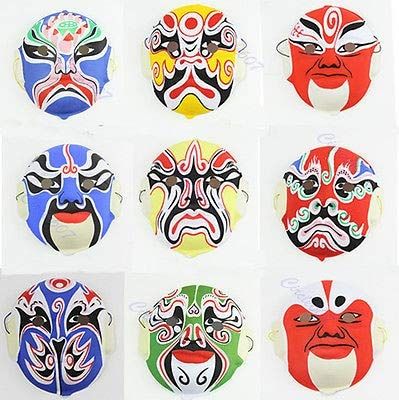 (Antique Masquerade Masks - 20 Pcs Lot Hand Painted Chinese Art Culture Peking Opera Styles Mask Paper Pulp - Bowl Pots Litter Seed Pulper Trays Clay Paper Opera Bedding Pulp)